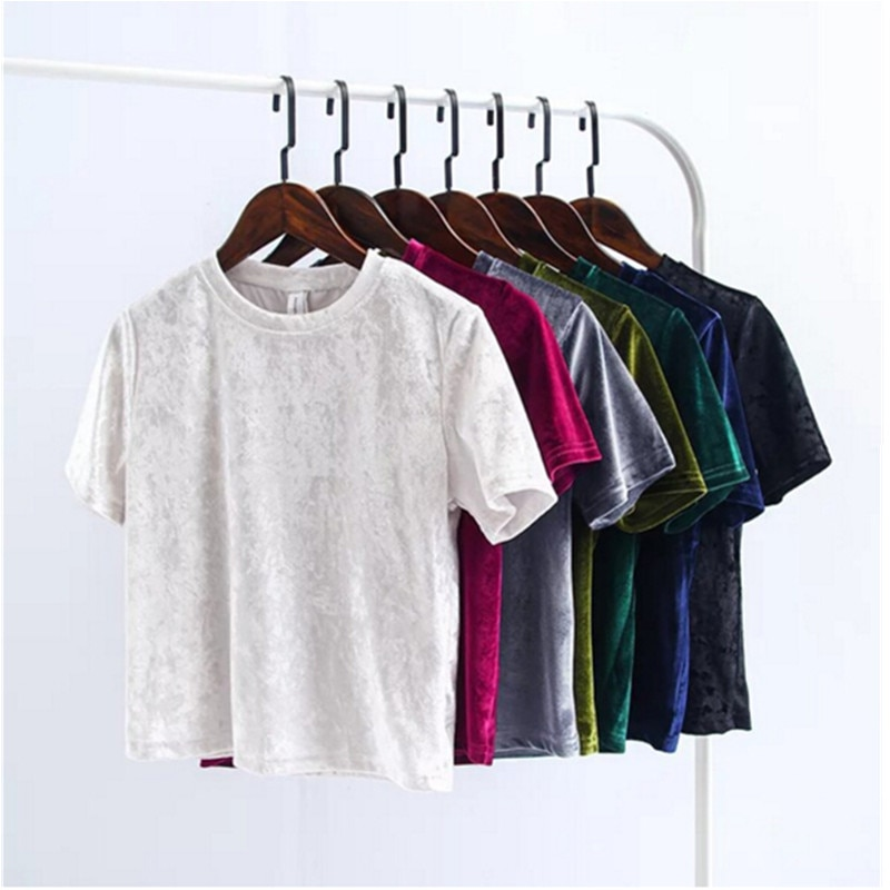 Velvet Crop Tops Women T Shirt Fashion Back Slit Short Sleeve T-shirt Ladies Casual Velour Tops Tees