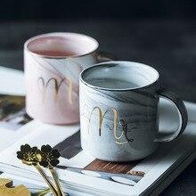 Tasse à café en marbre porcelaine classique   Céramique peinte à la main Mr et Mrs thé tasses à lait café boissons nouveautés cadeaux