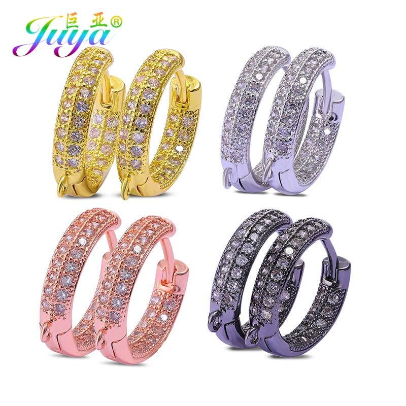 Juya DIY Earring Supplies Cz Rhinestones Gold Silver Color Fasterner Earring Hook Claps Accessories For Handmade Earrings Making