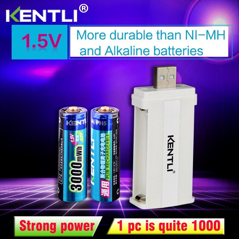 2 pces kentli 1.5v 3000mwh li-polímero li-ion lítio recarregável aa bateria batterie + 2slots cu57 carregador