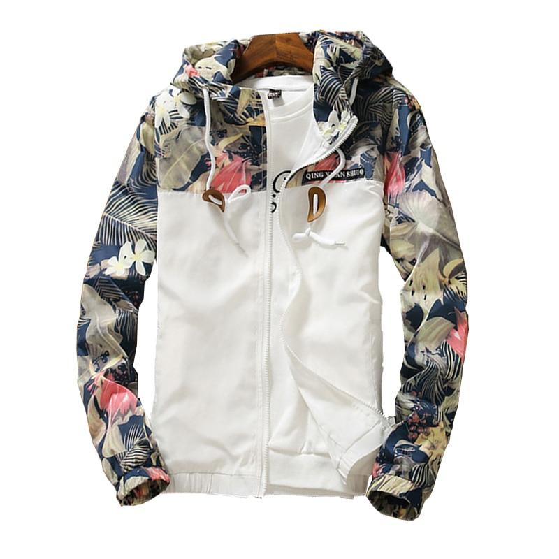 Women's Hooded Jackets 2021 Spring Autumn Floral Causal Windbreaker Women Basic Jackets Coats Zipper