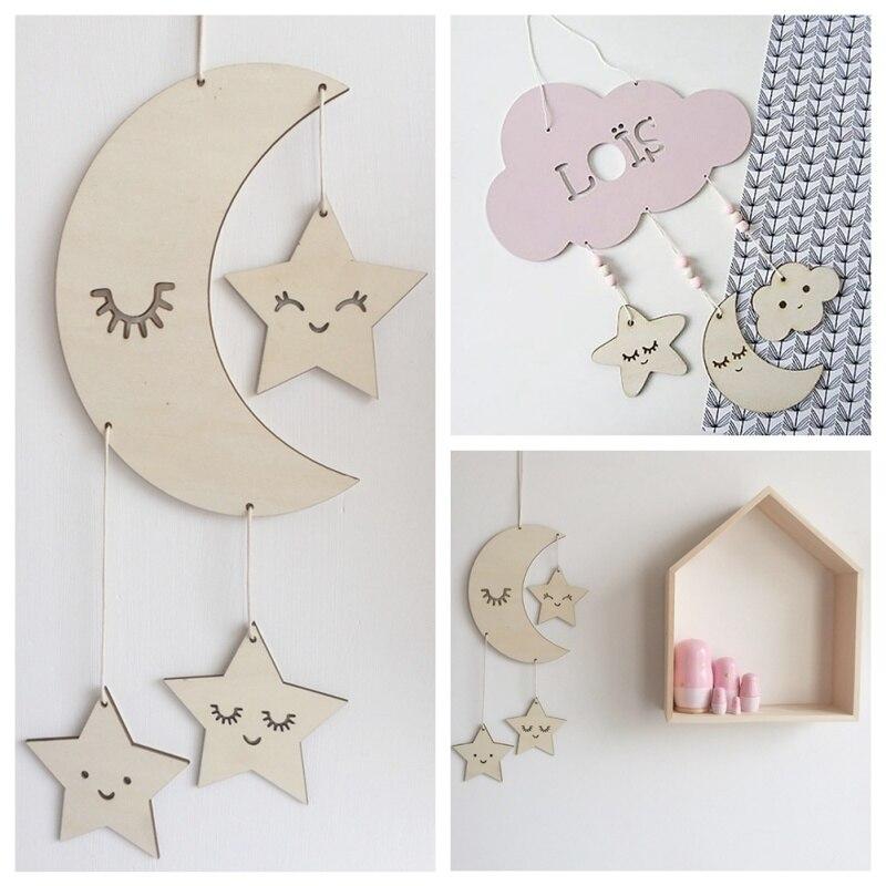 Adornos de decoración para niños Estilo nórdico pestañas Luna estrellas diseño fotografía utilería decoración colgante para habitación de niños