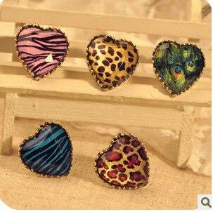 Новые модные ювелирные изделия, бесплатная доставка, оптовая продажа, Винтажное кольцо Леопард с перьями персикового павлина, модные кольц...