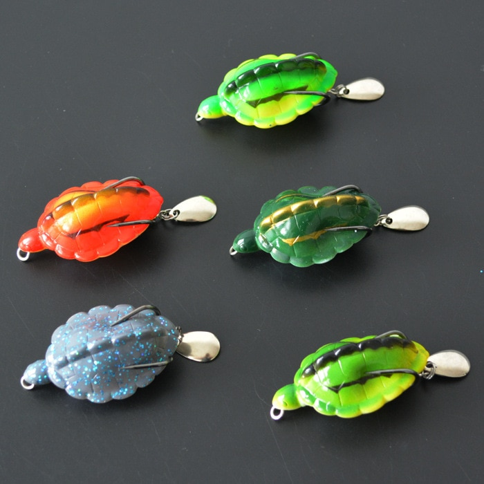 Fishing Artificial Tortoise Lures 6cm/13g with Spoon Blades Snakehead Fish Frog Lure Soft Bait