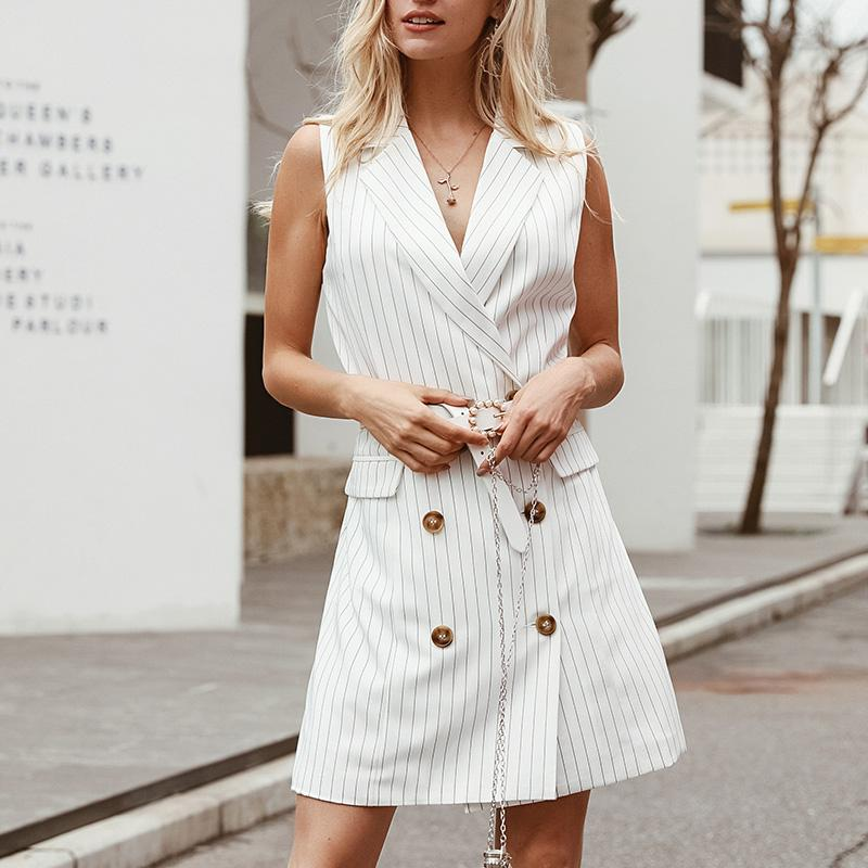 Misswim Elegant sleeveless autumn dress women 2019 Slim blazer dress Office lady Button Chic Mini Dresses Fashion dress Vestidos