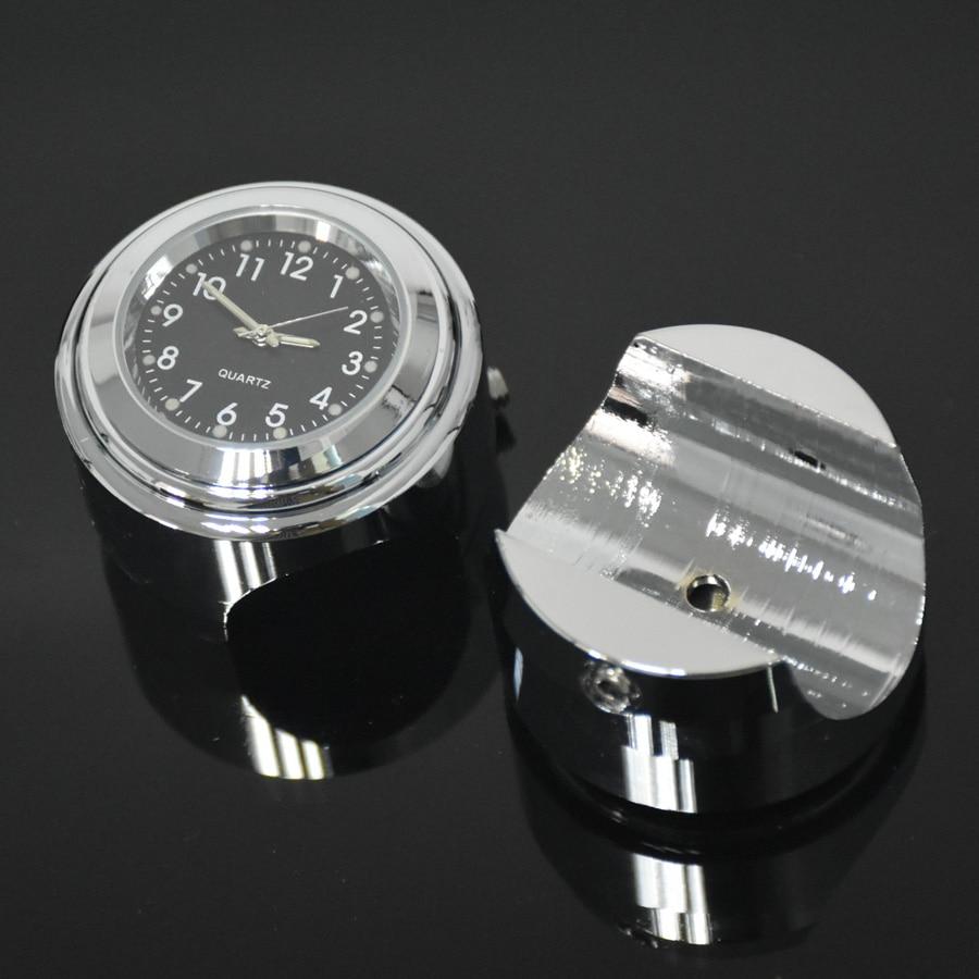 """Wasserdichte 7/8 """"Chrome Motorrad Lenkerhalterung Quarzuhr Uhr für Honda für Yamaha für Suzuki für Kawasaki"""