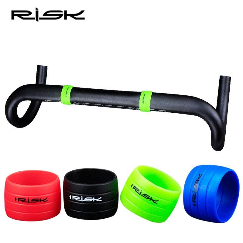 Riesgo 1 par de silicona enchufe bicicleta manillar cinta enchufe carretera bicicleta Anti-saltar anillo manillar Bar cinta tapones impermeables accesorios