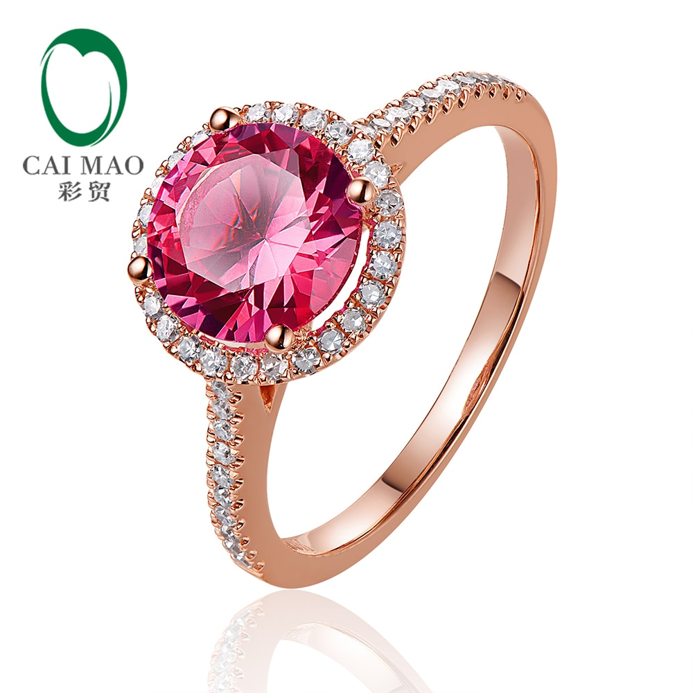 Caimao joyería 14kt oro rosa 2.31ct Topacio rosa y 0.24ct Anillo de compromiso de diamante Natural