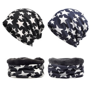Unisex Star Pattern Windproof Neck Scarf Beanie Cap Casual Baggy Hat Multi-Use HATRX0029