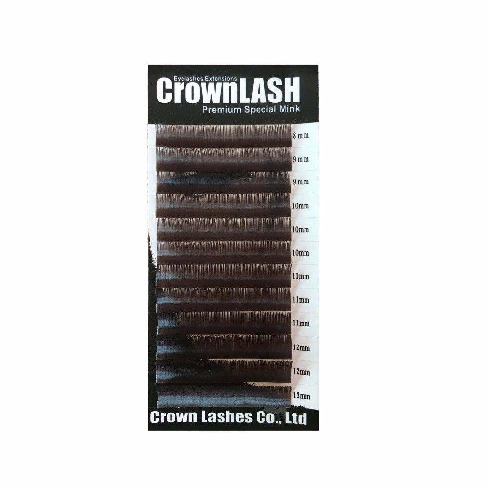Crownlash chocolate brown bcd 0.10 8-13mm tamanho misto bandeja janpanese estilo cílios extensão
