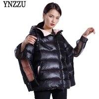 ynzzu brand 2021 autumn winter jacket women casual thick warm duck down coats hooded sleeve split zippers fashion outwears o601