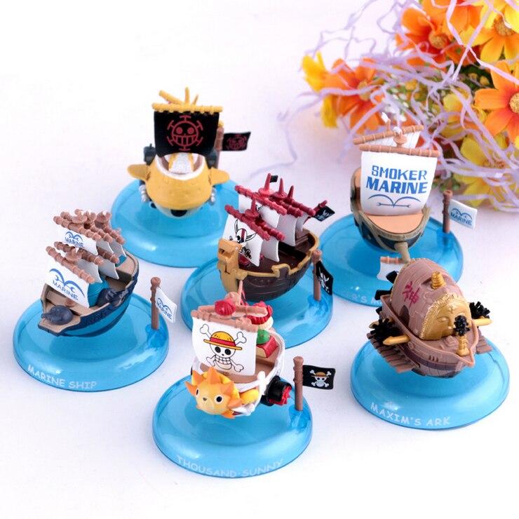 Nuevo anime japonés una pieza 6 unids/lote Barco Pirata kawaii pvc figura de acción muñeca niños modelo juguete mil marino soleado nave juguetes