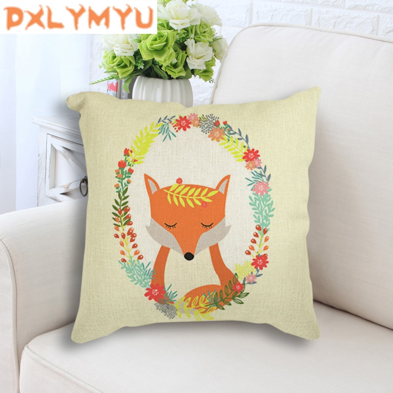 Animal pintura artística de flores de conejo de dibujos animados Fox impreso nórdicos tiro funda de cojín funda de almohada cojín decorativo para sofá