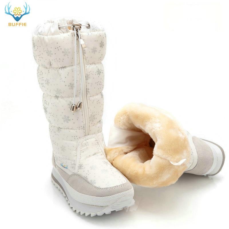 Śniegowce damskie 2020 zimowe buty wysokie pluszowe ciepłe buty Plus rozmiar 35 do dużych 42 łatwe noszenie dziewczyna białe buty zip kobiece gorące buty