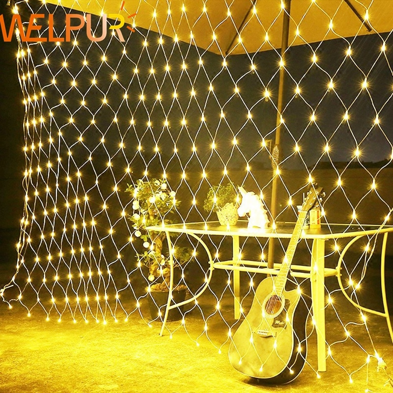 AliExpress - Net LED String Lights 8Modes 220V 1.5×1.5m 3X2M Festival Christmas Decoration New Year Wedding Party Waterproof