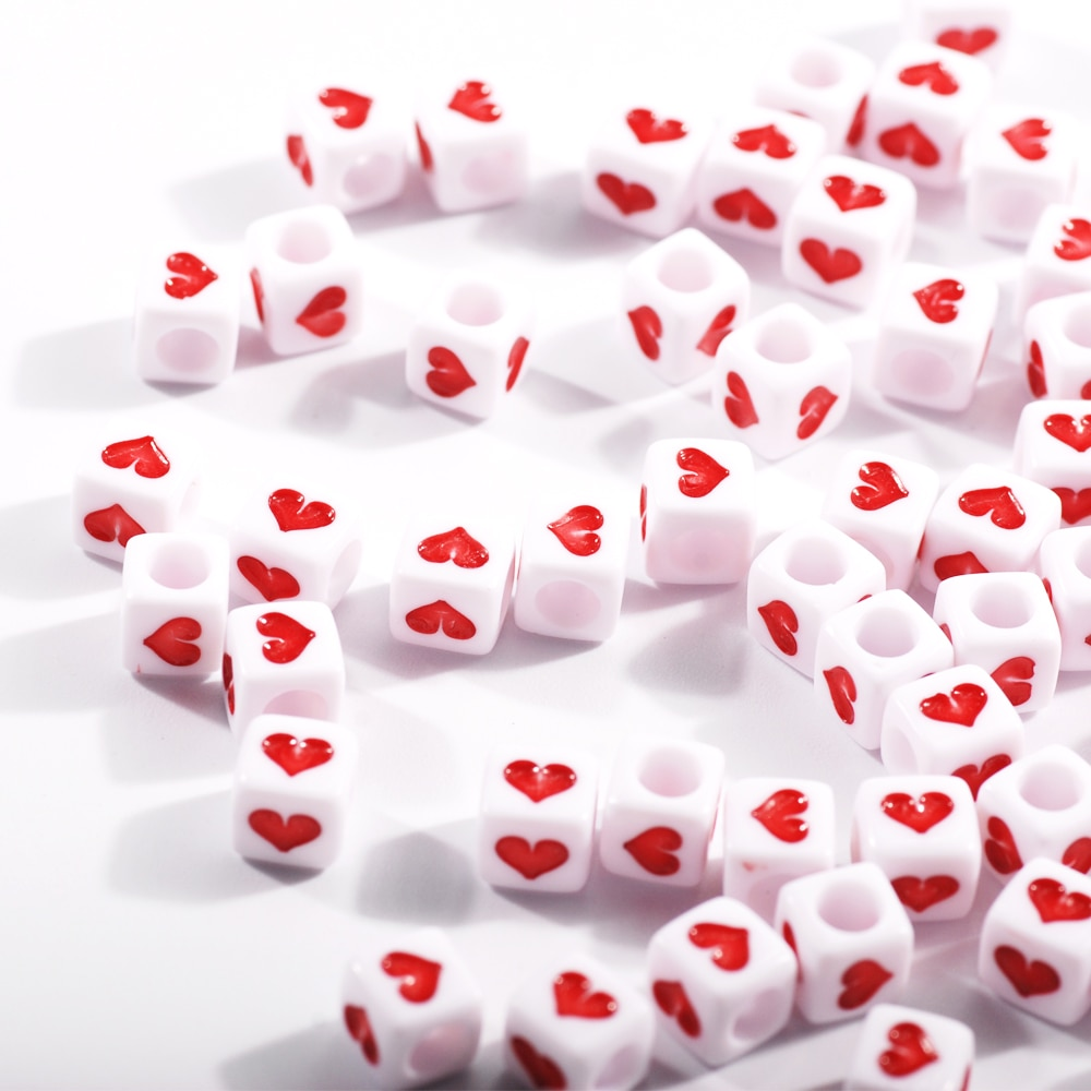 200Pcs/Bag 6mm Acrylic Love Heart letter Square Bead Fashion Jewelry Bracelet  kids toys Making DIY Loose Beads
