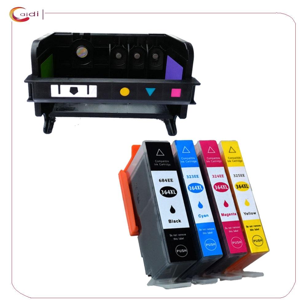 4slot regeneração hp 364 da cabeça de impressão + 4 pacote cartucho de tinta para hp photosmart b110a b110c b110e b209a b210a b210c b210b impressora
