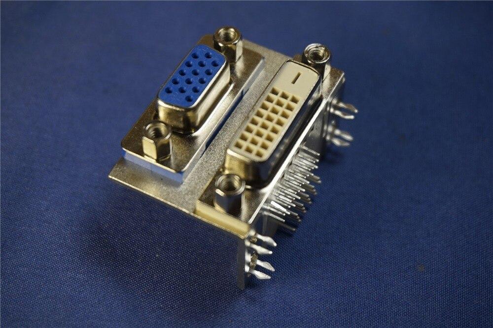 100 قطع DVI VGA ميناء المزدوج 24 + 1 دبوس 24 وعاء DVI-I وصلة مزدوجة وعاء موصل VGA 15 دبوس الإناث المقبس يمين زاوية من خلال حفرة