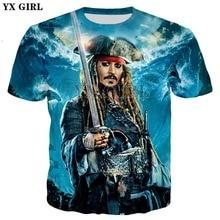 YX MÄDCHEN Jack Sparrow T-shirt film Fluch der Karibik Druck 3d t-shirt 2018 Neue Männer/Frauen sommer stil casual t shirt