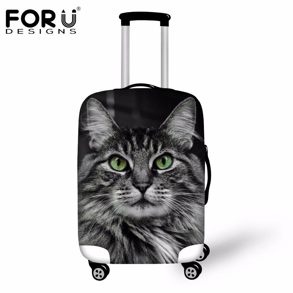 FORUDESIGNS, bonitas Fundas protectoras para lluvia con Gato en 3D, Fundas protectoras para maletas elásticas de 18 a 30 pulgadas