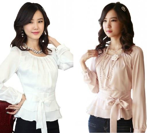 Sweet Shirts mujer moda tamaño S-XXL Color sólido Ziper cintura cuello redondo manga larga lazo con volante Tops Retro Peplum Chiffon blusa