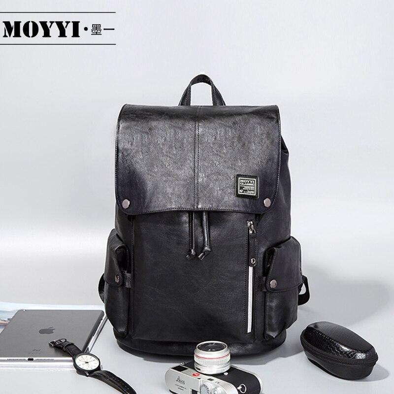 MOYYI العلامة التجارية الشهيرة نمط Preppy حقيبة ظهر مدرسية من الجلد حقيبة للكلية تصميم بسيط الرجال عادية daypack Mochila الذكور جديد