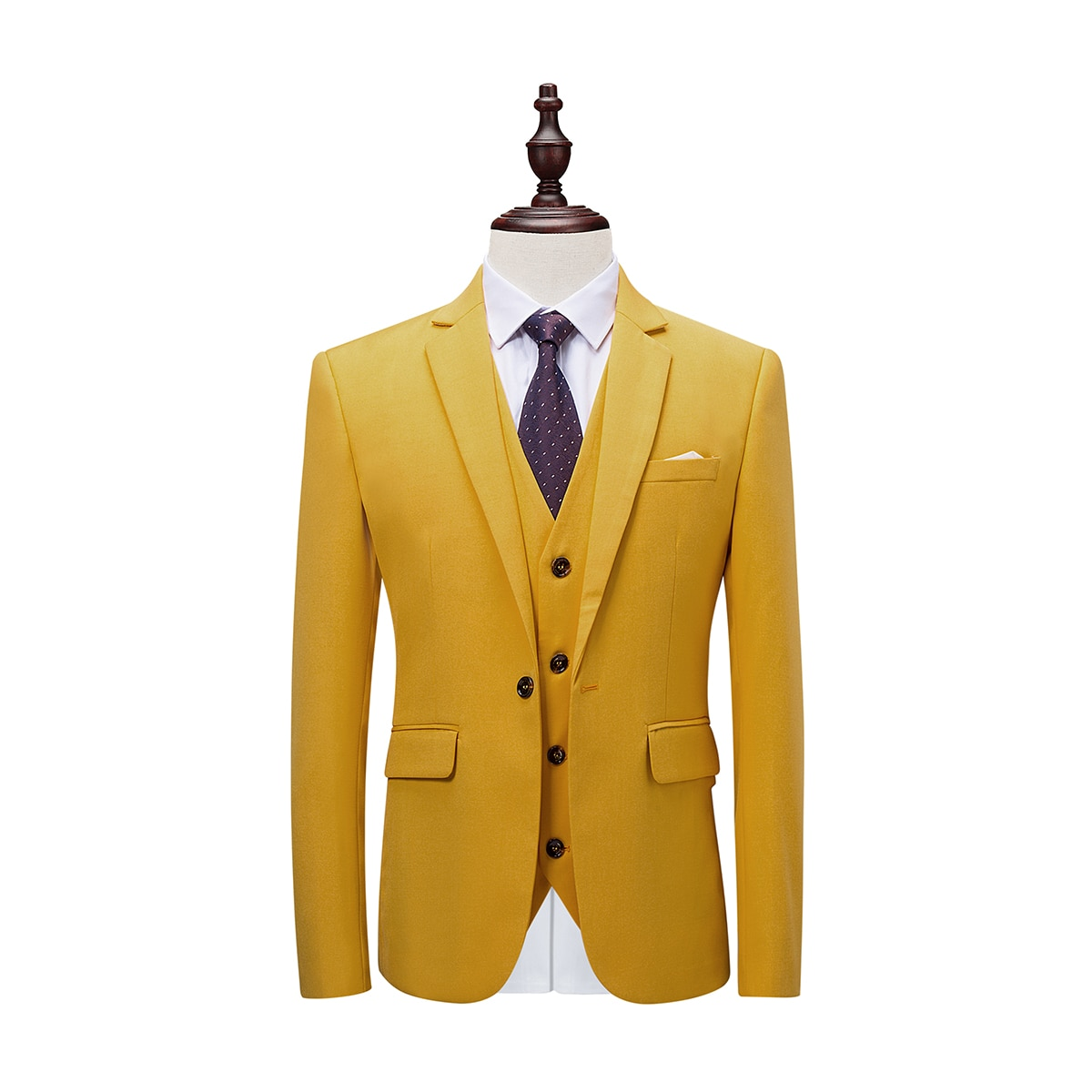New MenS Solid Color Fashion Trend Suit Three-Piece Bright Yellow Business Banquet Wedding Dress High-Grade Slim