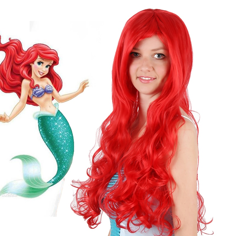 IHYAMS Anime The Little Mermaid Princess Ariel Cosplay Wig Halloween Play Wig Party Stage Synthetic Red Curly Hair