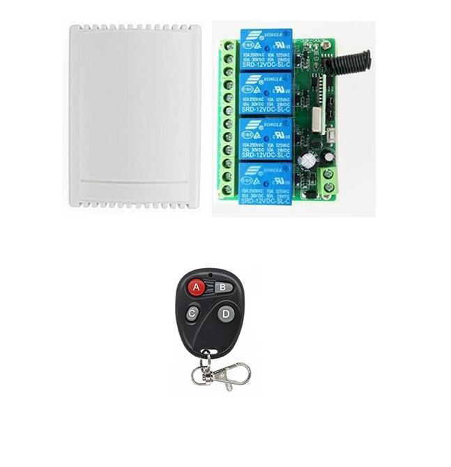 Smart hoem DC12V 4CH Channel 433Mhz Wireless Remote Control Switch Transmitter garage door gate window lamp appliance