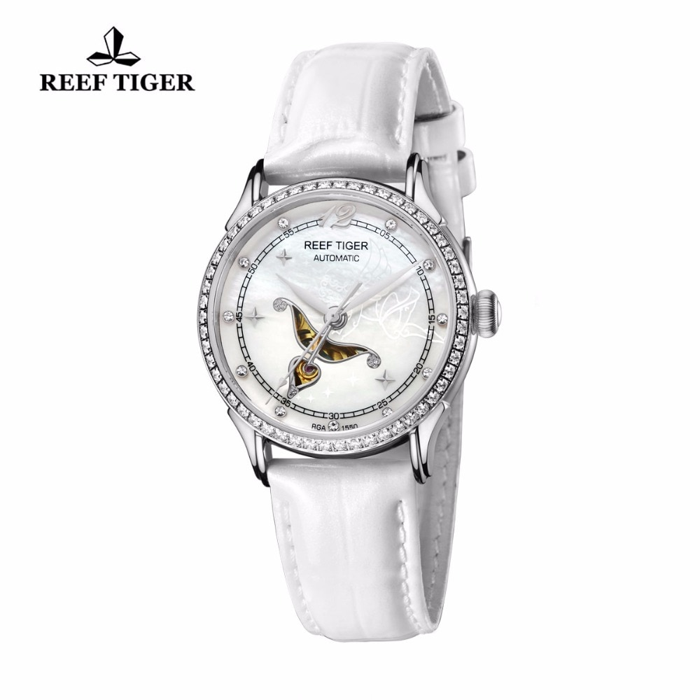 Reef Tiger Designer Fashion Diamonds Automatic Watch with White MOP Dial Steel Watches For Women RGA1550 enlarge
