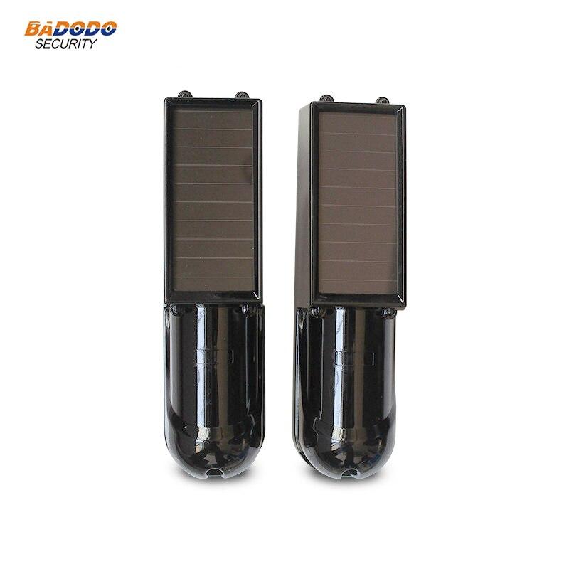 IP66 impermeable Solar alimentado 433MHz inalámbrico sensor de haz infrarrojo alarma 100m distancia para GSM wifi alarma de casa de seguridad