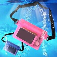 Bolsa de natación ligera de hombro de buceo a la deriva de la cámara del teléfono de la cintura subacuática de la pesca de la playa de la natación surf proteger bolsas caso