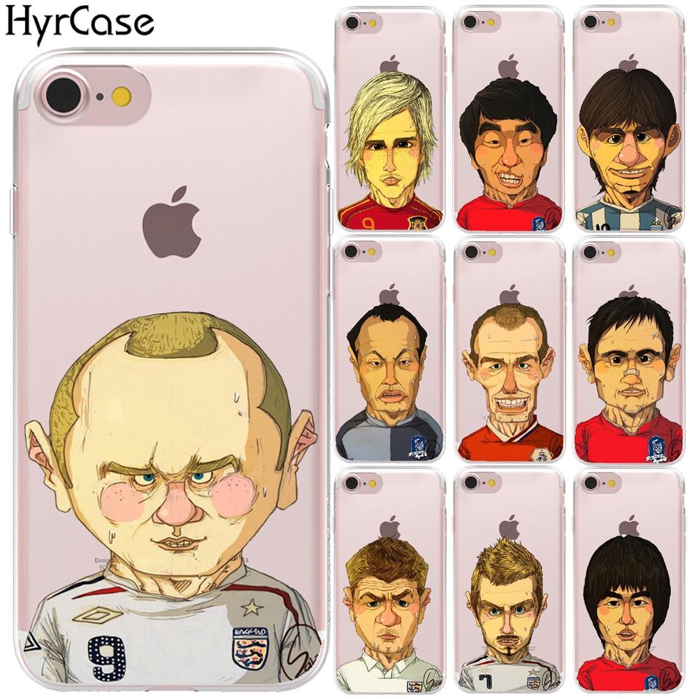 Famoso jugadores de fútbol de dibujos animados cubierta de teléfono de TPU suave funda para iPhone 8 7 6 6S Plus 5S 5 11 Pro XS Max X XR carcasa de silicona Capa