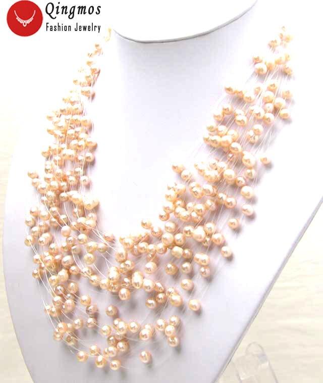 """Collar de perlas rosas Qingmos para mujer con 6mm redondo de agua dulce Natural 20 hebras de perlas estrelladas 18 """"gargantillas collar nec2561"""