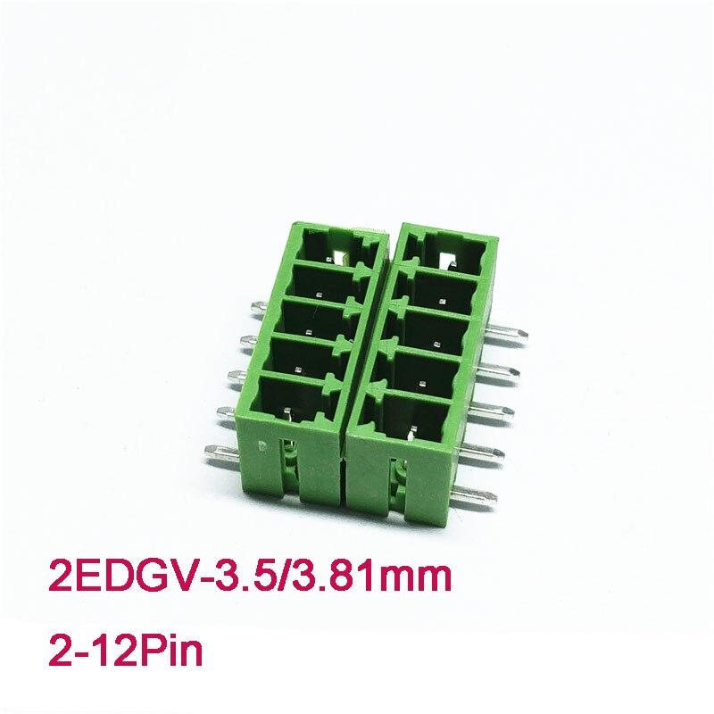 10 pces bloco terminal de encaixe 3.5/3.81mm 2 p 3 p 4 p 5 p 6 p 8 p parafuso plug-in pcb bloco terminal 2 edgvc 2 edgrc fechamento pino