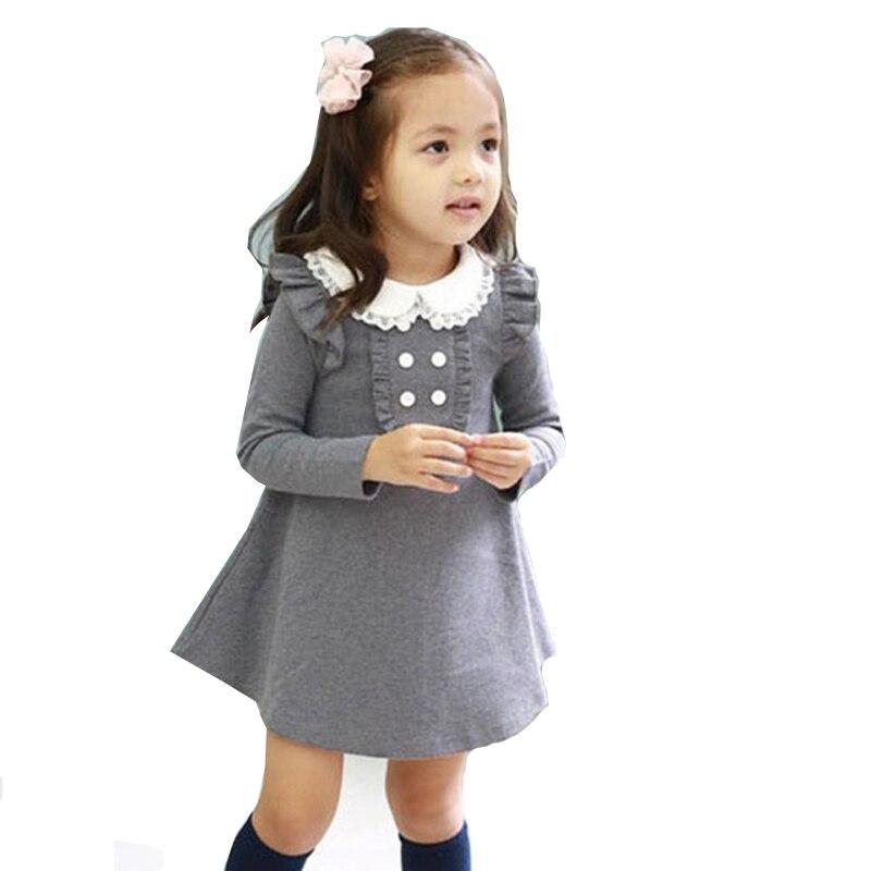 2020 primavera otoño recién llegado ropa Coreana de algodón para niña ropa de muñeca de manga larga casual niñas A-line mini vestido niños ropa