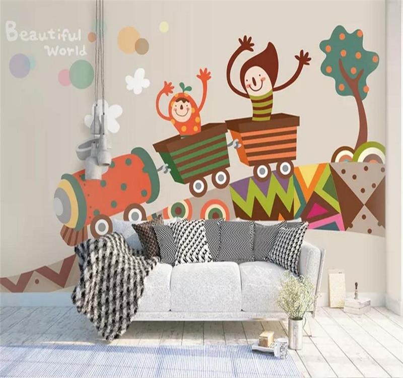 Пользовательские обои мультфильм детская стена детская комната роспись Декор водонепроницаемый материал