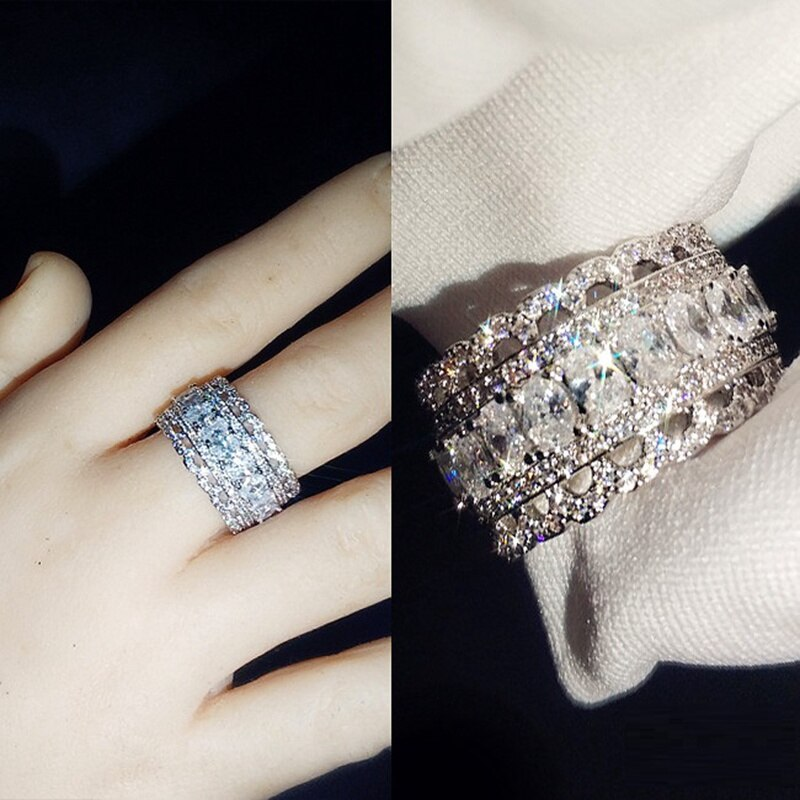 Anillo de dedo de flor Simple de encaje picante de Plata de Ley 925, doble capa con circón de cristal apilable, artículos de joyería para boda para mujer
