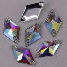 100 pièces/lot en cristal   Cristal de 11*19mm AB / Clear AB en résine de losange cousue sur pierres à dos plat, livraison gratuite