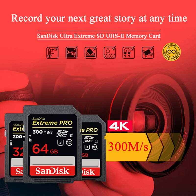 SanDisk Extreme Pro SD Card 32GB 64GB UHS-II SDHC SDXC Up to 300MB/s 2000X Memory Card U3 Flash Card for 4K Video Full HD Camera enlarge