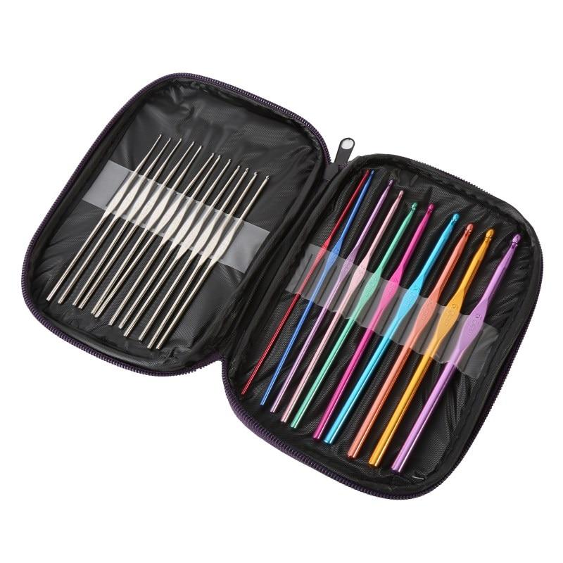 22 unids/set agujas de acero inoxidable múltiples ganchos de ganchillo conjunto de herramientas de aguja de tejer con estuche Kit de artesanía de hilo AB