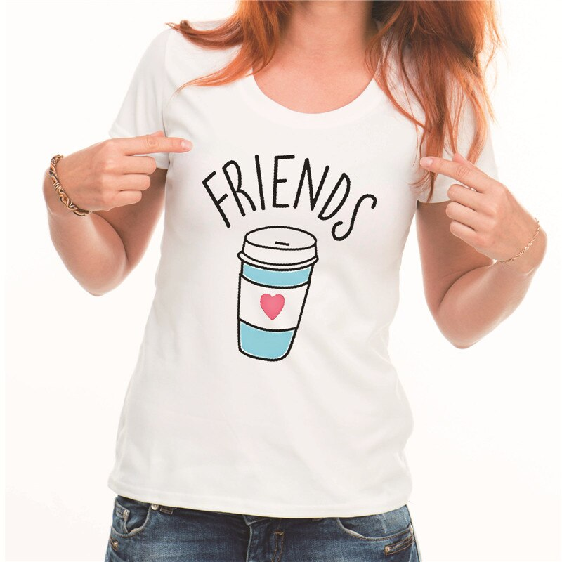 Showtly   BEST FRIEND Letter Print Coffee Doughnut Women's T Shirt  Ladybro Tee Tops Casual Super Soft Short Sleeve