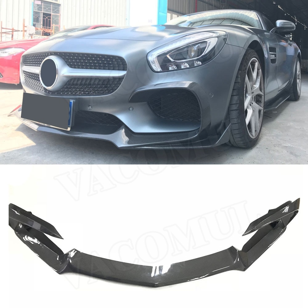 Carbon Fiber Front Lip Spoiler Splitters Flaps For Mercedes Benz AMG GT AMG GTS AMG GTR Coupe 2 Door FRP Bumper Cover