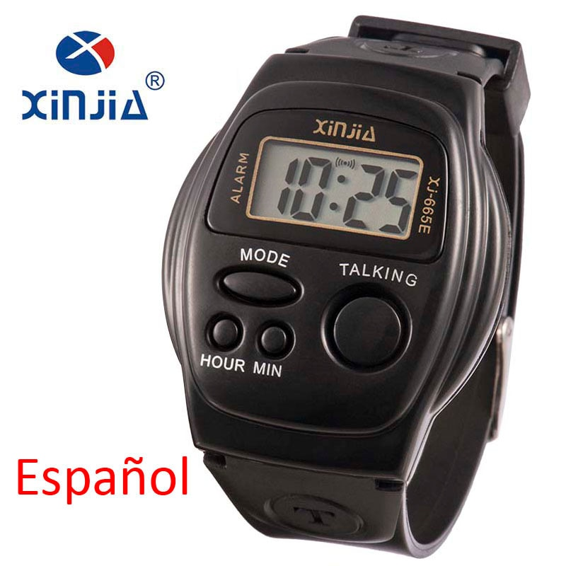 New Simple Old Men And Women Talking Watch Speak Spanish Blind Electronic Digital Sports WristWatche