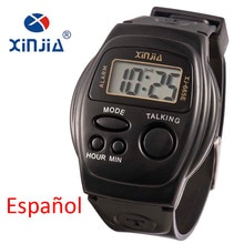 New Simple Old Men And Women Talking Watch Speak Spanish Blind Electronic Digital Sports WristWatche
