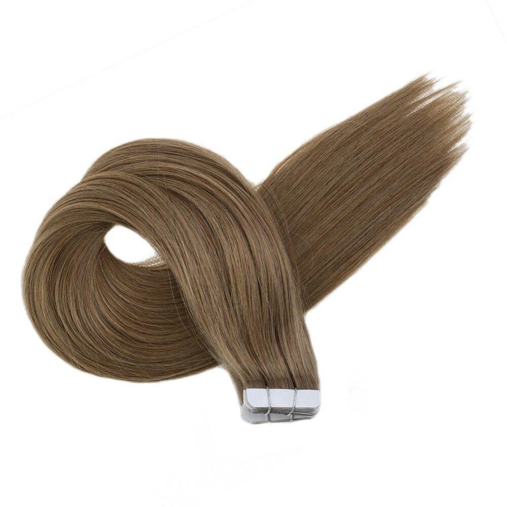 Brilho completo fita colorida no cabelo cor sólida # 8a extensões máquina remy cabelo humano 20 pçs 50g fita adesiva cola de cabelo no cabelo