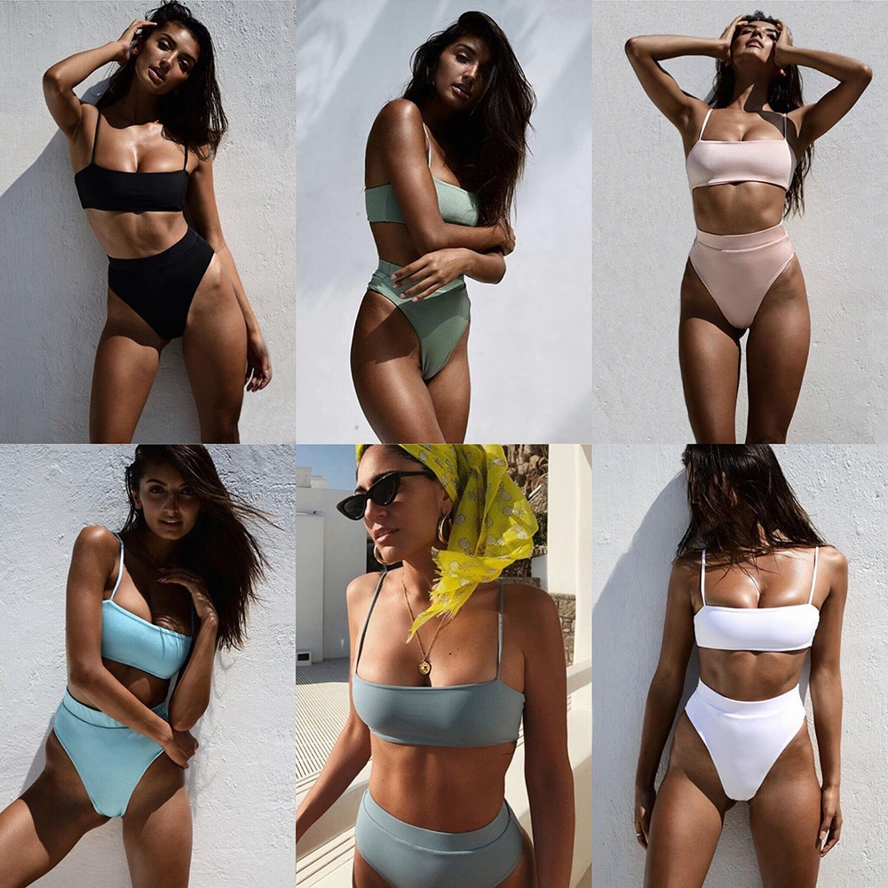 ZTVitality Sexy Bikinis Solid Push Up Bikini 2021 Hot Sale Padded Bra Straps High Waist Swimsuit Female Swimwear Women Biquini