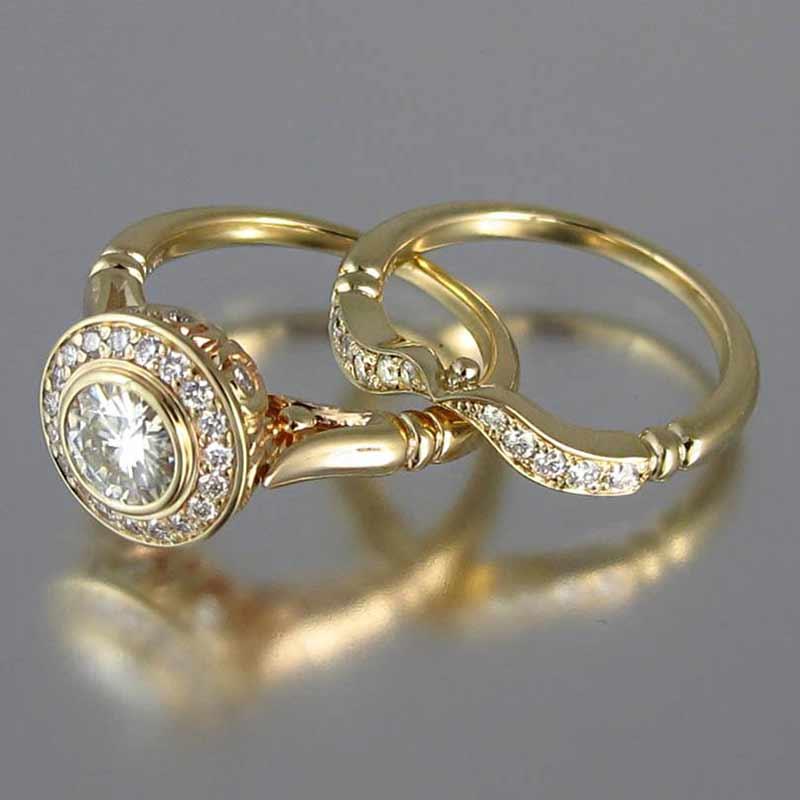 Conjunto de 2 anillos de boda Huitan de Color dorado con diseño romántico para mujer