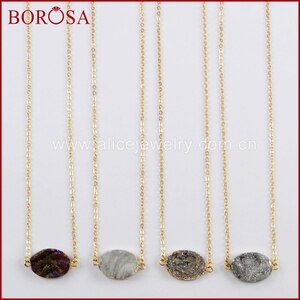 "BOROSA 5/10PCS Elegant 16"" Gold Color Oval Rainbow Titanium Galaxy Druzy Quartz Connector Necklace Jewelry for Women G1617-N"