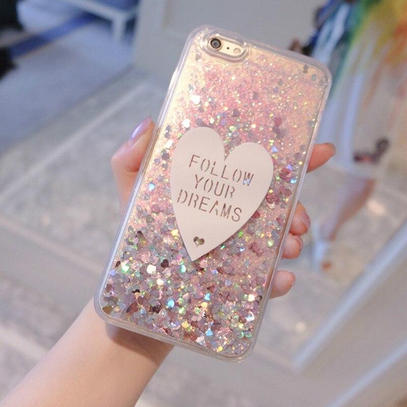 Phone Case For Alcatel U5 EU 3G 4047X Case 3D cute Love Glitter Liquid Soft TPU Silicone Covers For Alcatel U5 EU 4G / 5044 Case